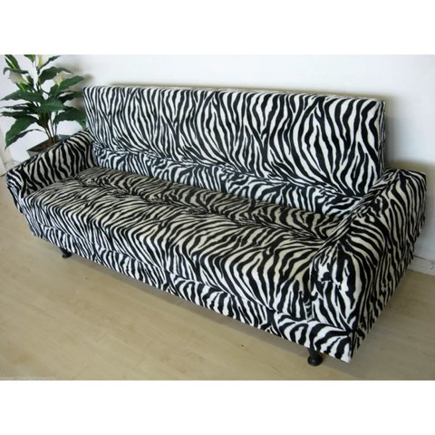 sofa 250cm 10 foot sectional black and white zebra print 5 seater bed with depop