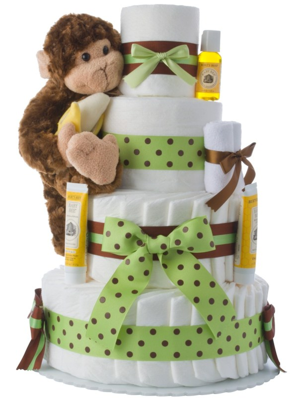Monkey 4 Tier Diaper Cake Unique