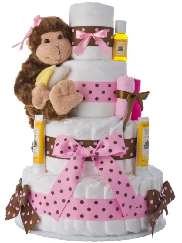 Monkey 4 Tier Diaper Cake Pink
