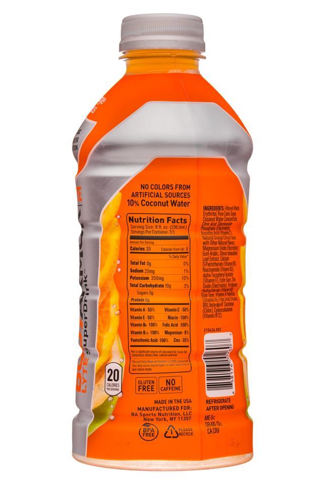 Body Armor Drink Nutrition Label : armor, drink, nutrition, label, Media, 31072, BodyArmor-28oz-LYTE-OrangeCitrus-Facts, BevNET.com