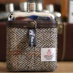 Brown herringbone tweed hip flask