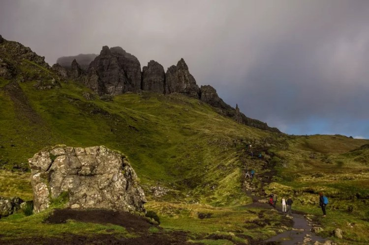 A rocky path leads to the cliffs above the Old Man of Storr