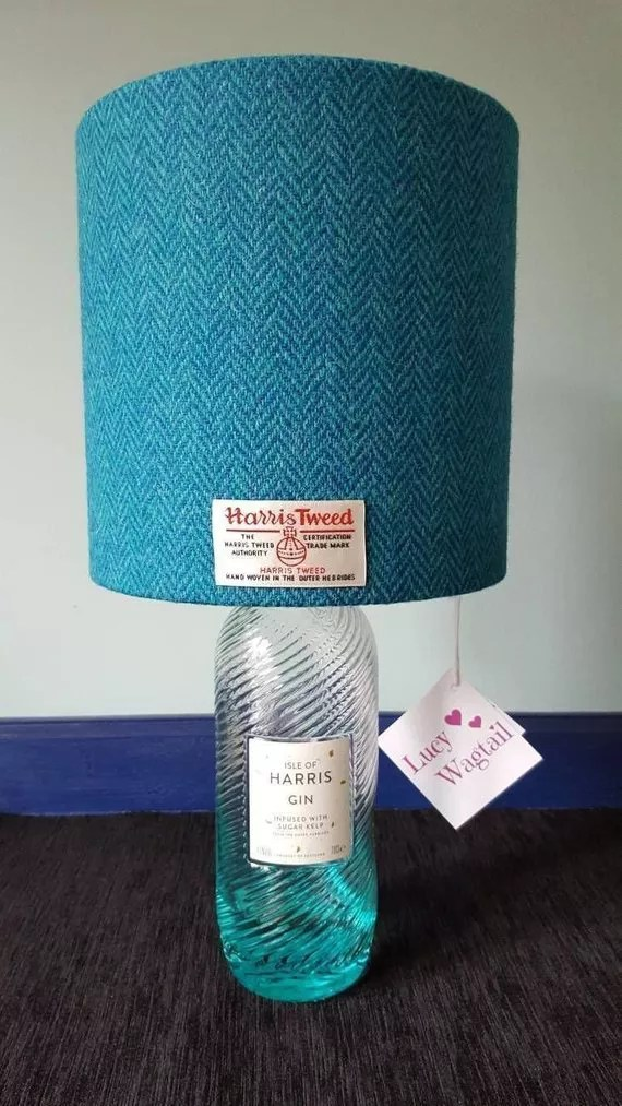 Blue Harris Tweed lampshade on Harris Gin bottle