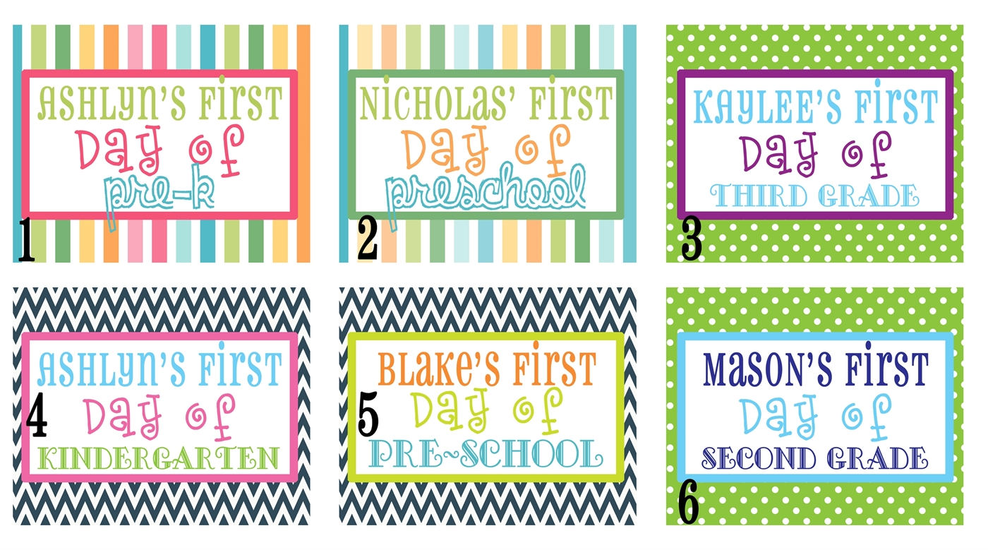 Personalized 1st Day Of School Signs