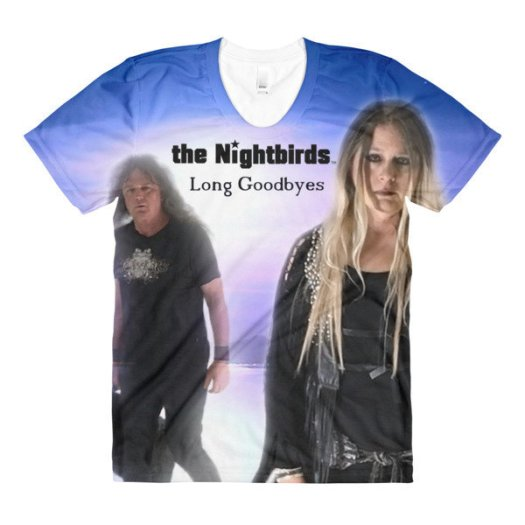 the Nightbirds LONG GOODBYES Womens Sublimation Crew Neck T-Shirt
