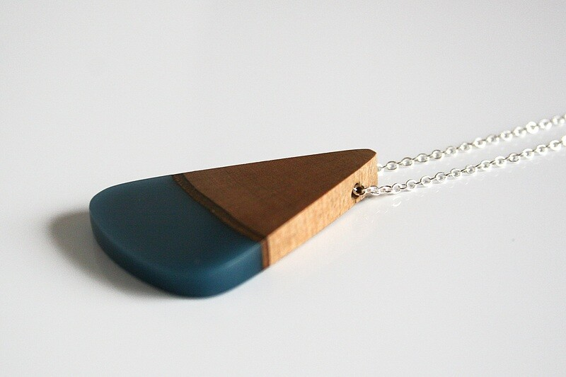 Carlow Plum Wood Collection: Medium Aqua Blue pendant