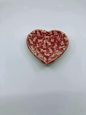 Hand made heart shaped ceramic dish