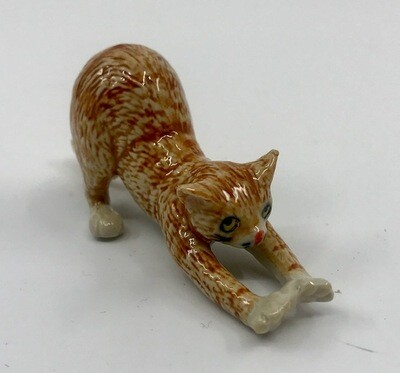 Stretching Cat Miniature Porcelain