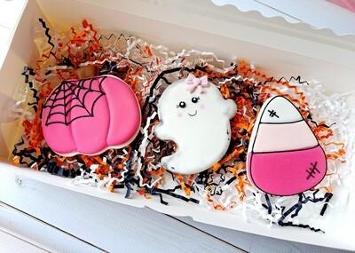 Halloween Cookie 3 Cookie Set Pink Girl Ghost
