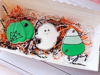 Halloween Cookie 3 Cookie Set Green Boy Ghost