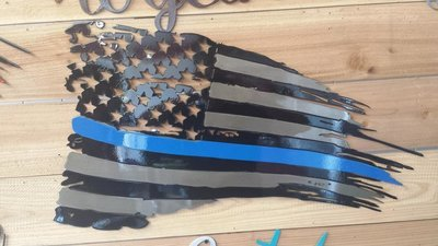 Thin Blue Line Tatterd Flag 2D