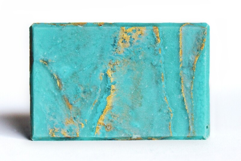 GLACIAL gold marbled mint soap