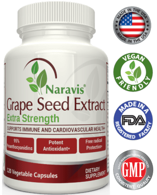 Naravis Grape Seed Extract - 400mg - 120 Veggie Capsules - 95% Proanthocyanidins