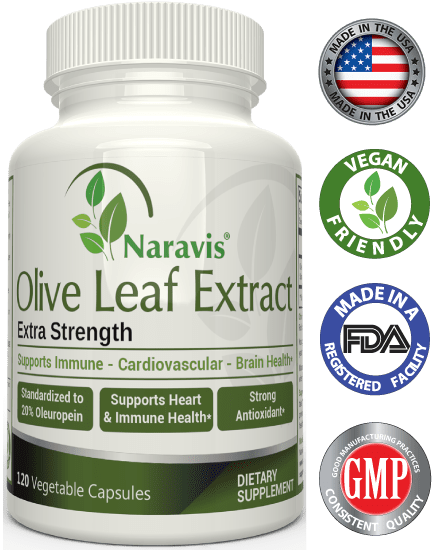 Naravis Olive Leaf Extract - 750mg - 120 Veggie Capsules - 20% Oleuropein
