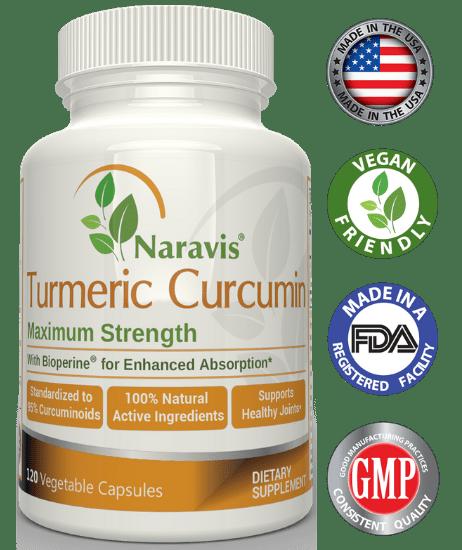 Naravis Turmeric Curcumin with Black Pepper Extract - 1000mg Serving - 120 Veg. Capsules - 95% Curcuminoids