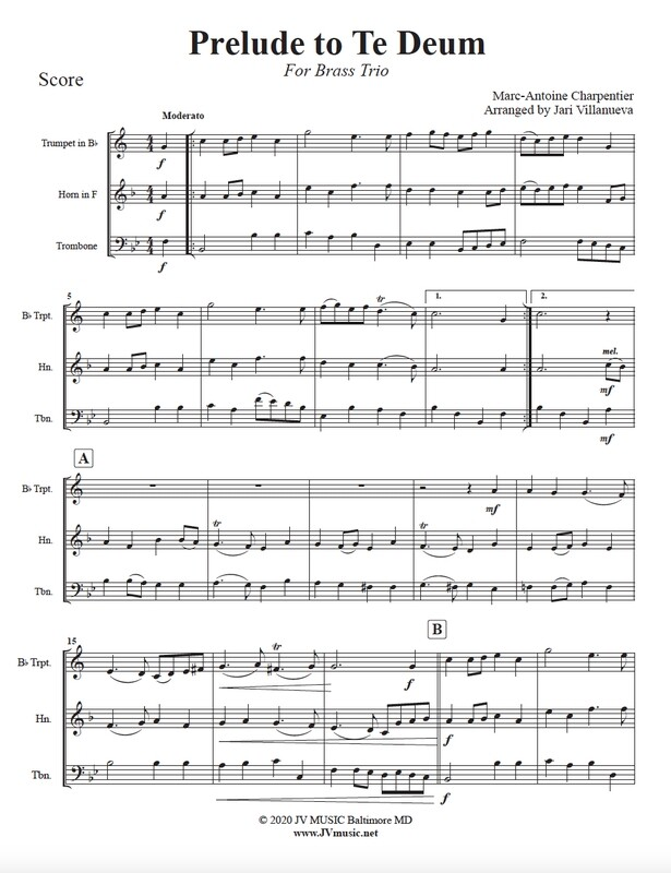 Prelude to Te Deum for Brass Trio