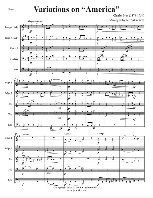 Variations on America for Brass Quintet