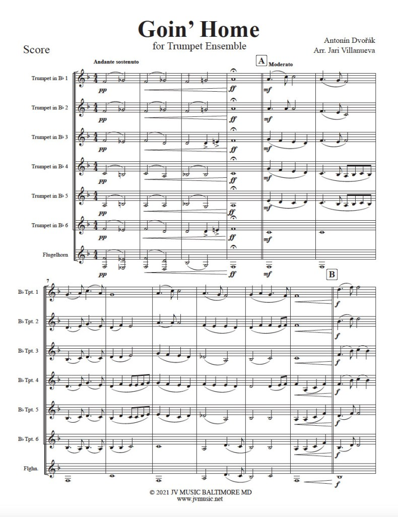 Goin' Home (Going Home) for Trumpet Ensemble Arranged by Jari Villanueva