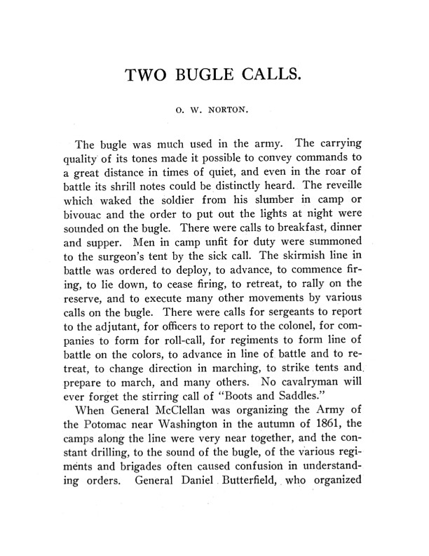 Two Bugle Calls by Oliver Willcox Norton-Download Scan