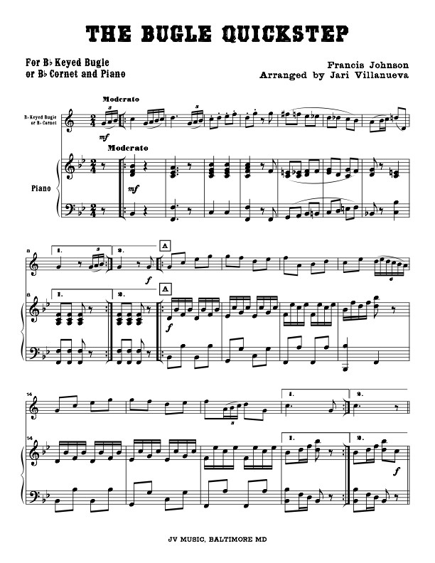 The Bugle Quick Step for Piano and Keyed Bugle or Cornet by Francis Johnson