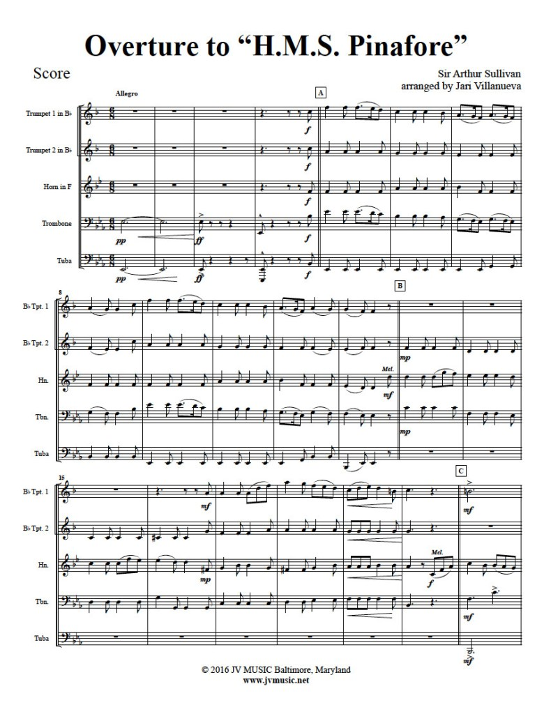 Overture to HMS Pinafore for Brass Quintet