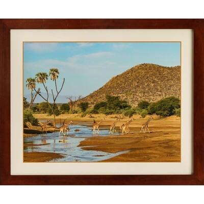 Giraffes at the River -- Jeff Lane
