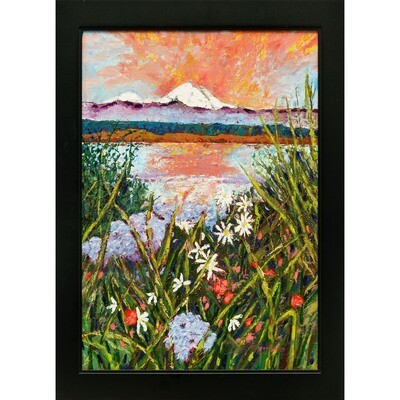 Mt Baker from Port Townsend Garden -- Ginger Carter