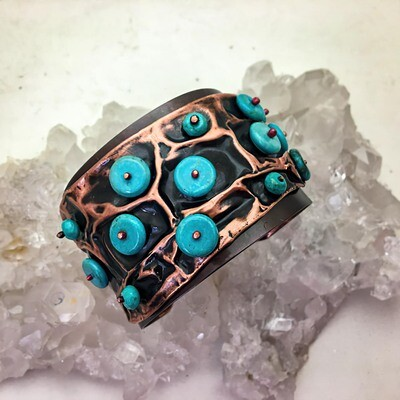 Carole Weaks - Turquoise and Copper Air Chased Cuff​
