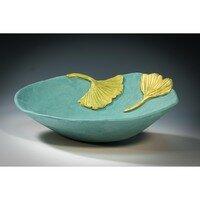 Bowl with 2 Gingko Leaves -- Hilda Bordianu