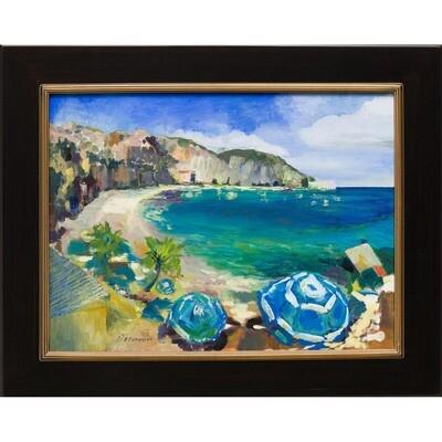 Blue Umbrellas and the Sea -- Patricia J Richardson