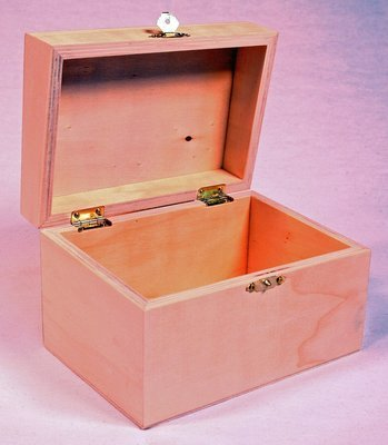 Wooden Recipe Box with Hinged Lid and Front Clasp - 6.75