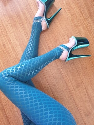 Mermaid Sticky Pole Leggings - Teal