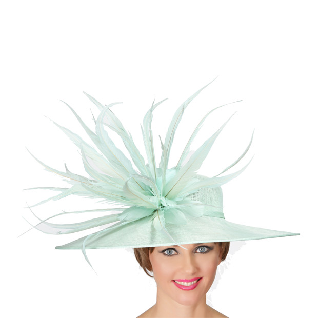 Aqua Feather Hat