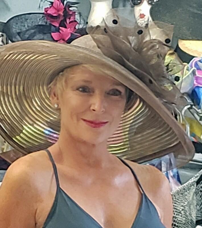 Brown Shear Pokodot Trimmed Hat