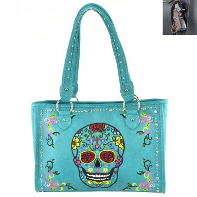 Montana West Sugar Skull Bag Concealed Carry - Turquoise