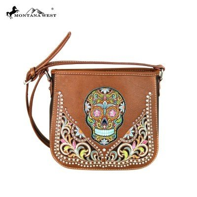 Montana West Sugar Skull Crossbody - Brown