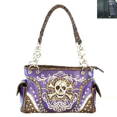 Skull Concealed Carry Shoulder Bag - Purple