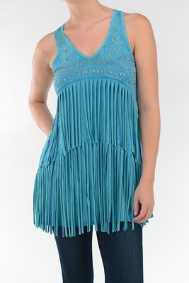 Double Fringe Tunic Stone Wash Teal