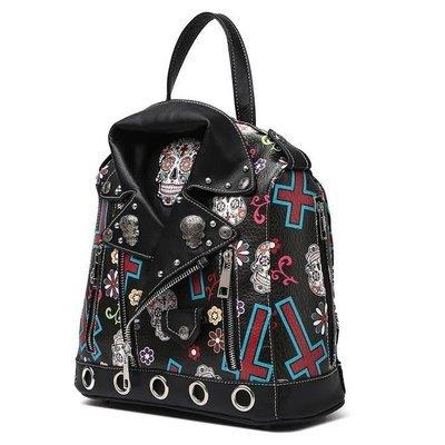 Sugar Skull Biker Jacket Backpack