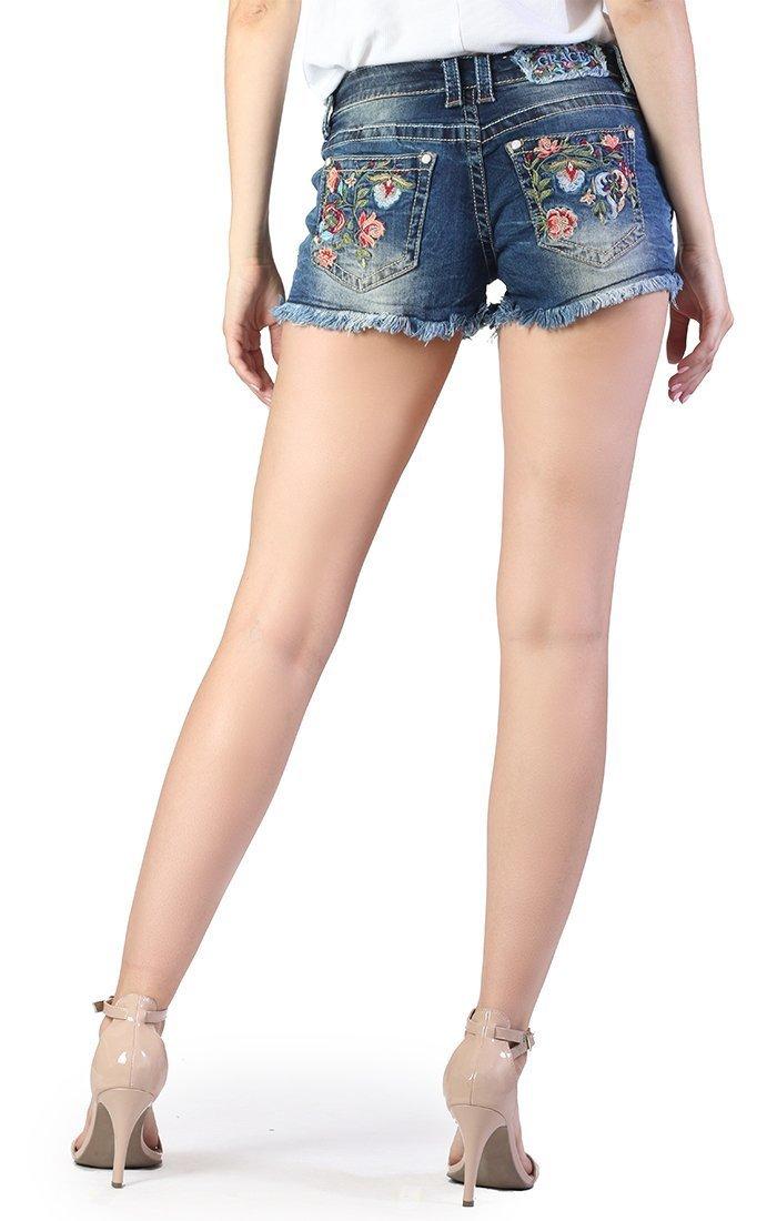 Aztec Floral Denim Shorts