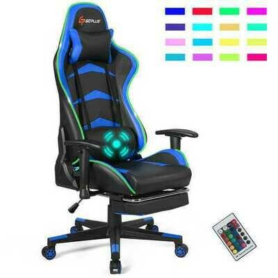 Massage LED Gaming Chair with Lumbar Support & Footrest-Blue