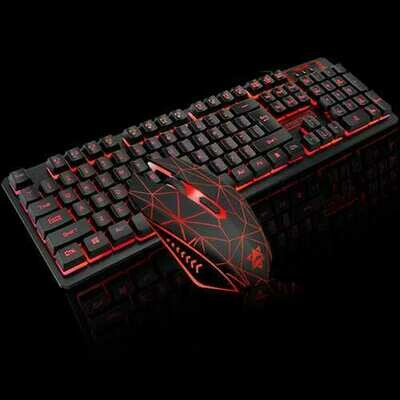 Wired USB Gaming Mechanical Feeling Keyboard Mouse Combos Breath light Pro Full Key Professional Mouse Keyboard  black