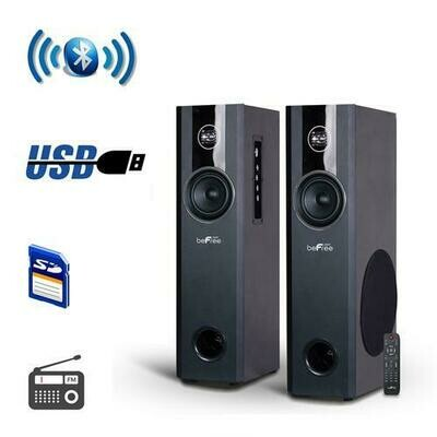 beFree Sound 2.1 Channel BluetoothPowered Black Tower Speakers With Optical Input