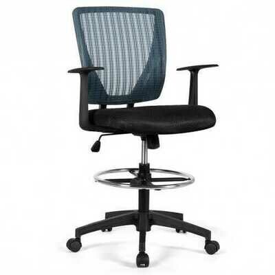 Footrest Ring Mid Back Mesh Drafting Office Chair