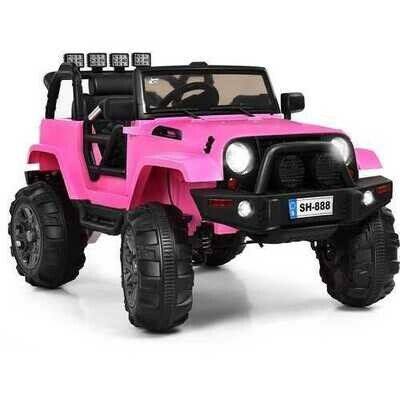 12V Kids Remote Control Riding Truck Car with LED Lights-Pink
