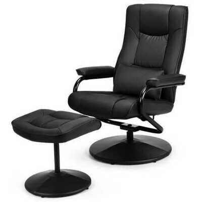 Recliner Chair Swivel Armchair Lounge-Black - Color: Black