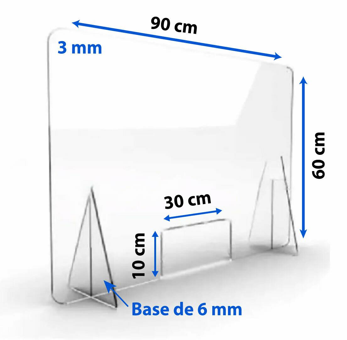 Mampara De Protección Acrílico Mostrador 60x90cm 3mm
