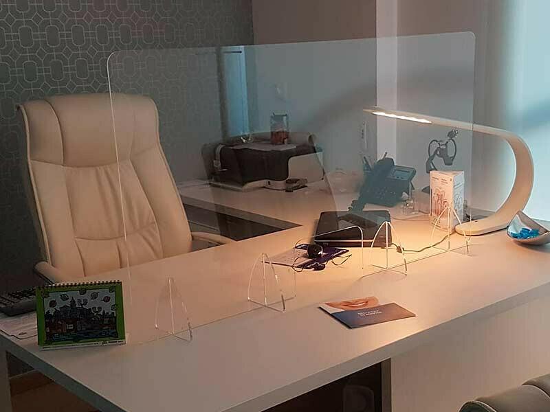 Mampara Protección Acrílico Mostrador Escritorio 60x120cm 6mm