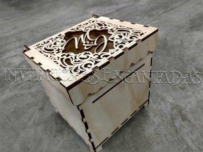 Caja de Dinero Madera + 50 Sobres de Dinero 20x20x20cms 04