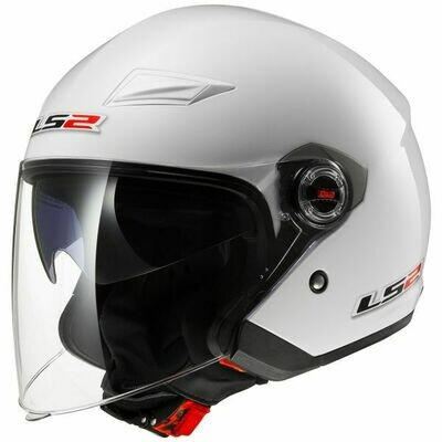 CASCO LS2 JET OF569 TRACK col. BIANCO LUCIDO